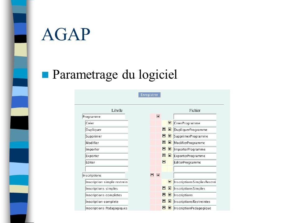 AGAP Parametrage du logiciel