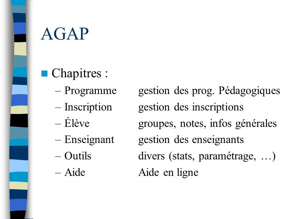 AGAP Chapitres : Programme gestion des prog. Pédagogiques