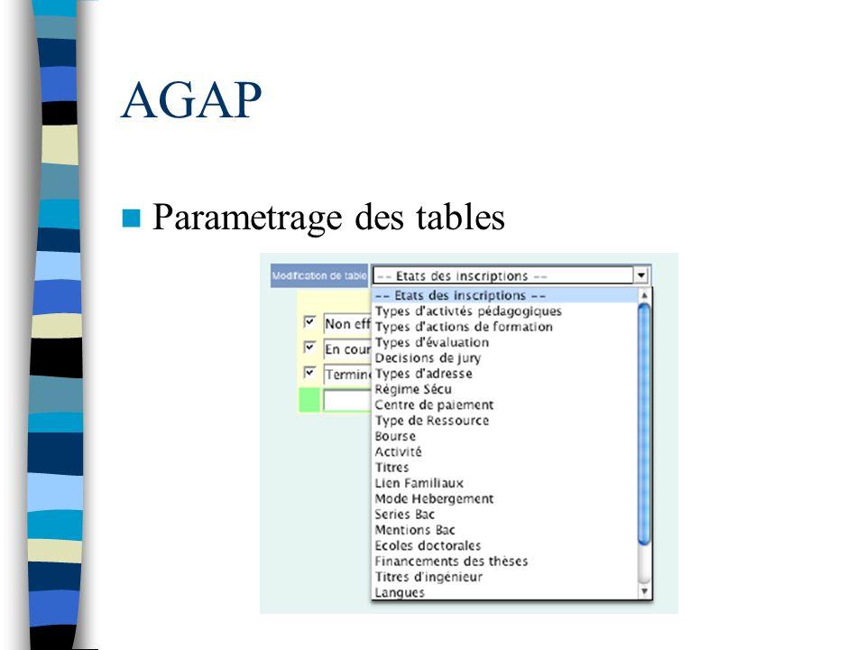 AGAP Parametrage des tables