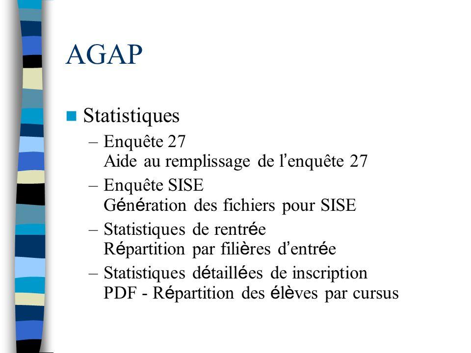 AGAP Statistiques Enquête 27 Aide au remplissage de l'enquête 27