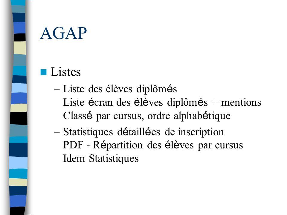 AGAP Listes. Liste des élèves diplômés Liste écran des élèves diplômés + mentions Classé par cursus, ordre alphabétique.