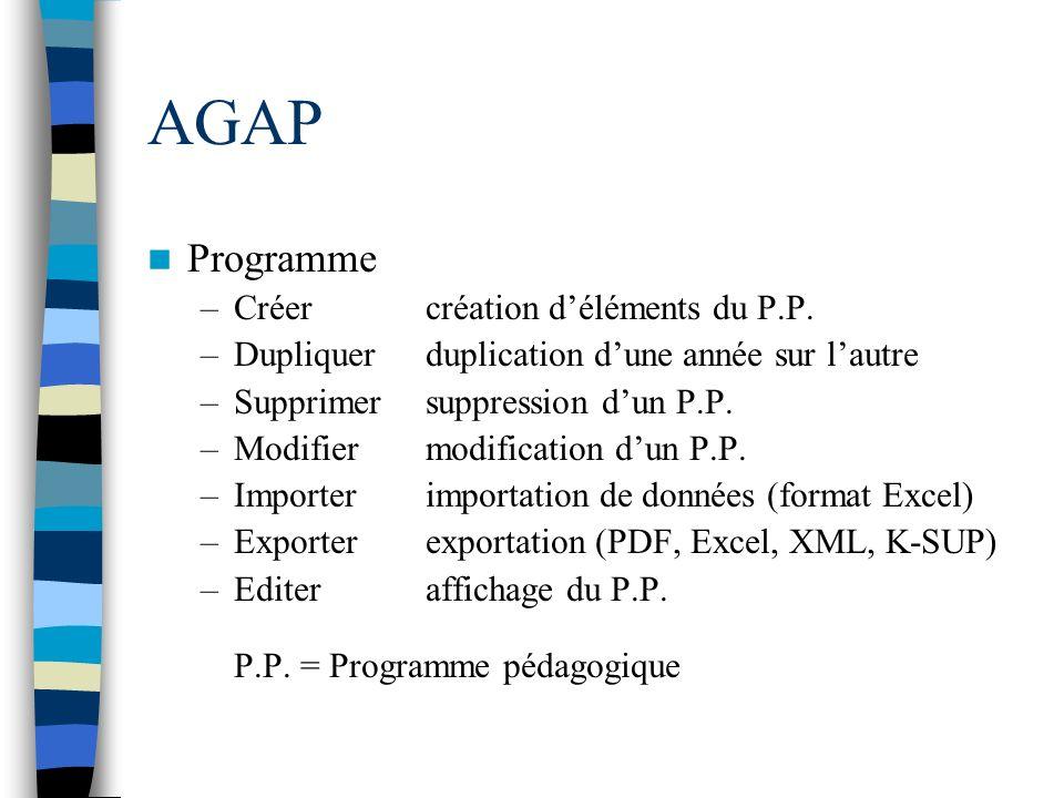 AGAP Programme Créer création d'éléments du P.P.