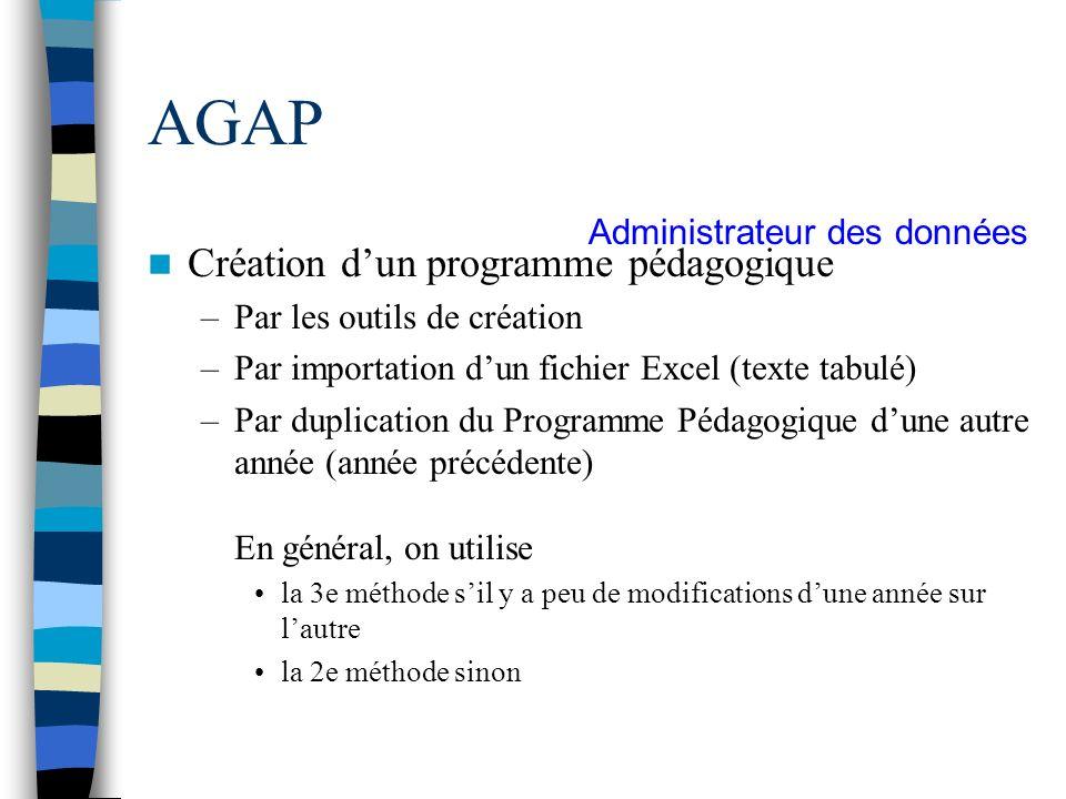 AGAP Création d'un programme pédagogique Administrateur des données