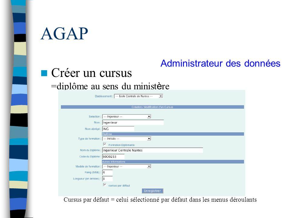 AGAP Créer un cursus =diplôme au sens du ministère