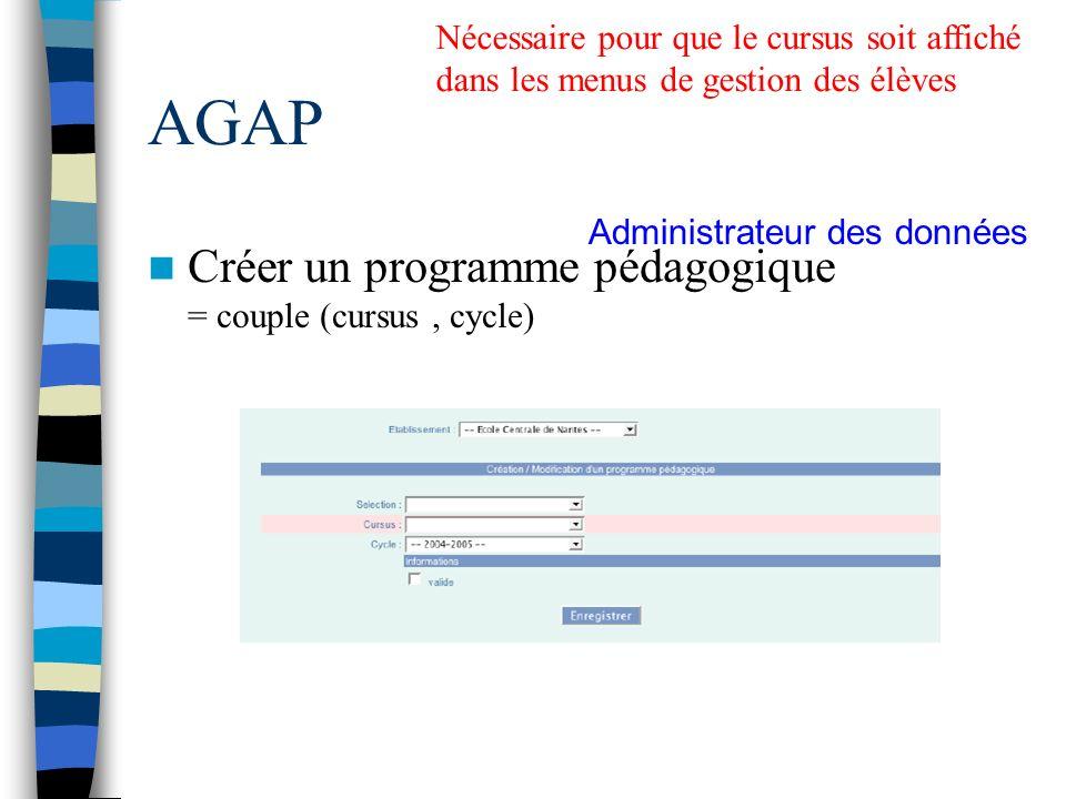 AGAP Créer un programme pédagogique = couple (cursus , cycle)