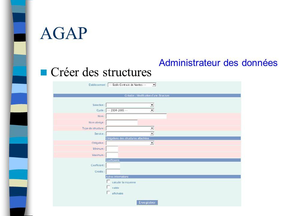 AGAP Administrateur des données Créer des structures