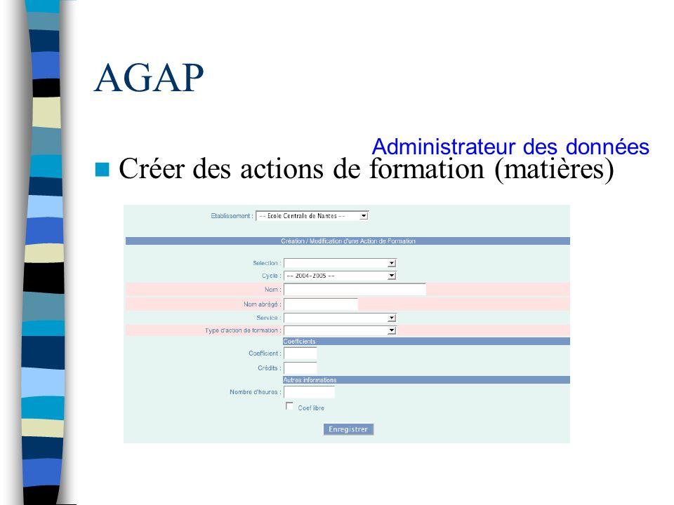 AGAP Créer des actions de formation (matières)