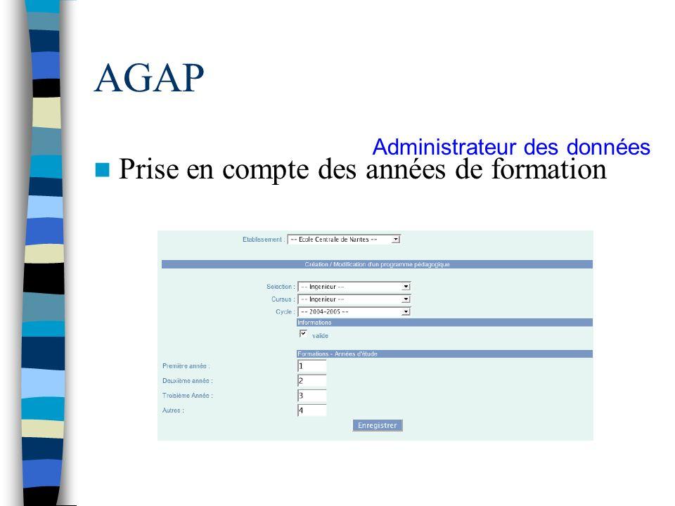 AGAP Prise en compte des années de formation