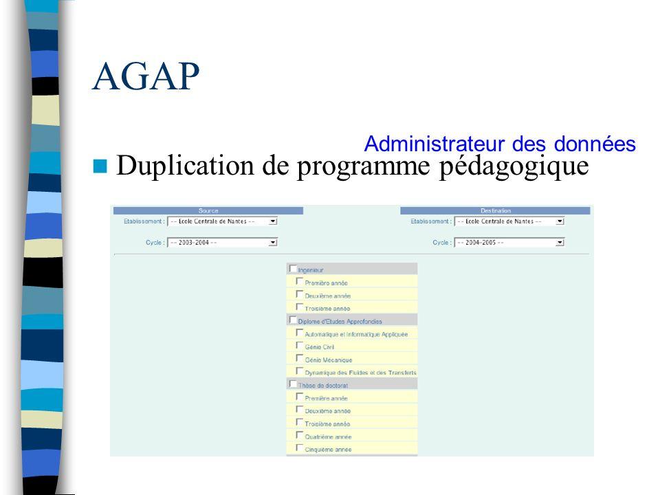 AGAP Administrateur des données Duplication de programme pédagogique