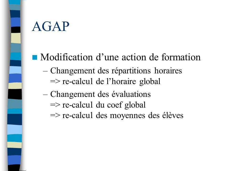 AGAP Modification d'une action de formation