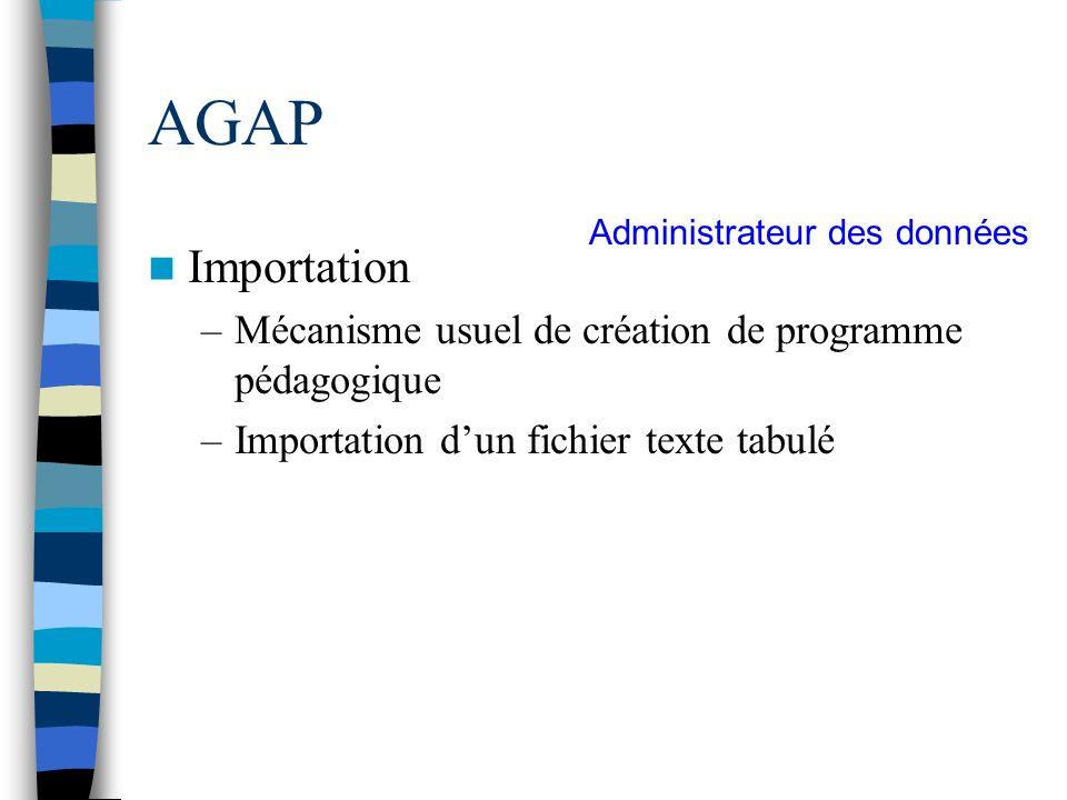 AGAP Importation Mécanisme usuel de création de programme pédagogique