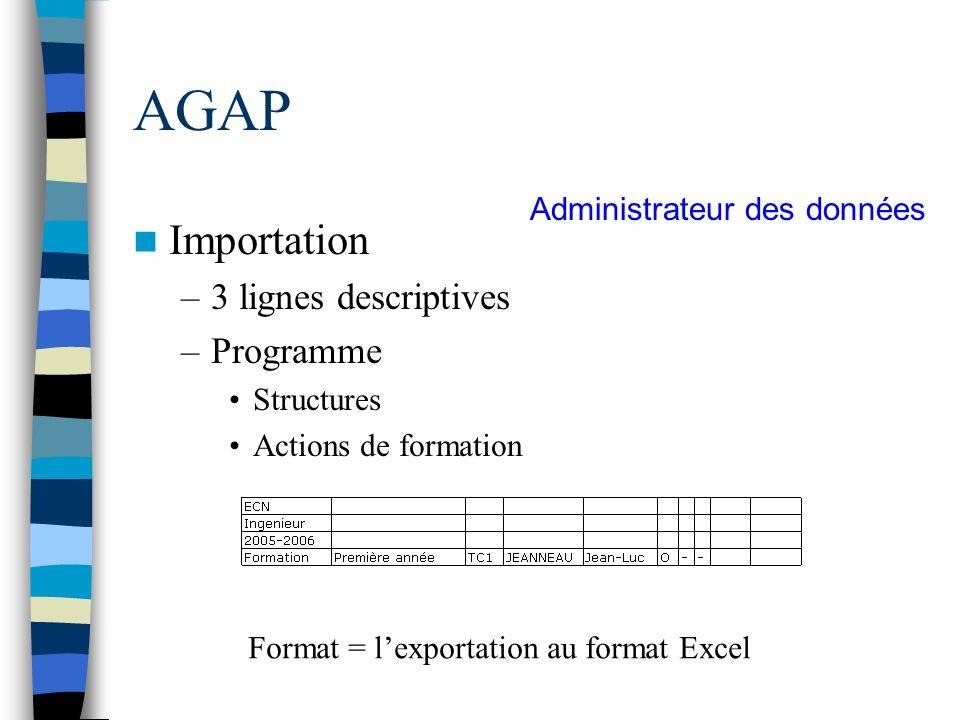 AGAP Importation 3 lignes descriptives Programme