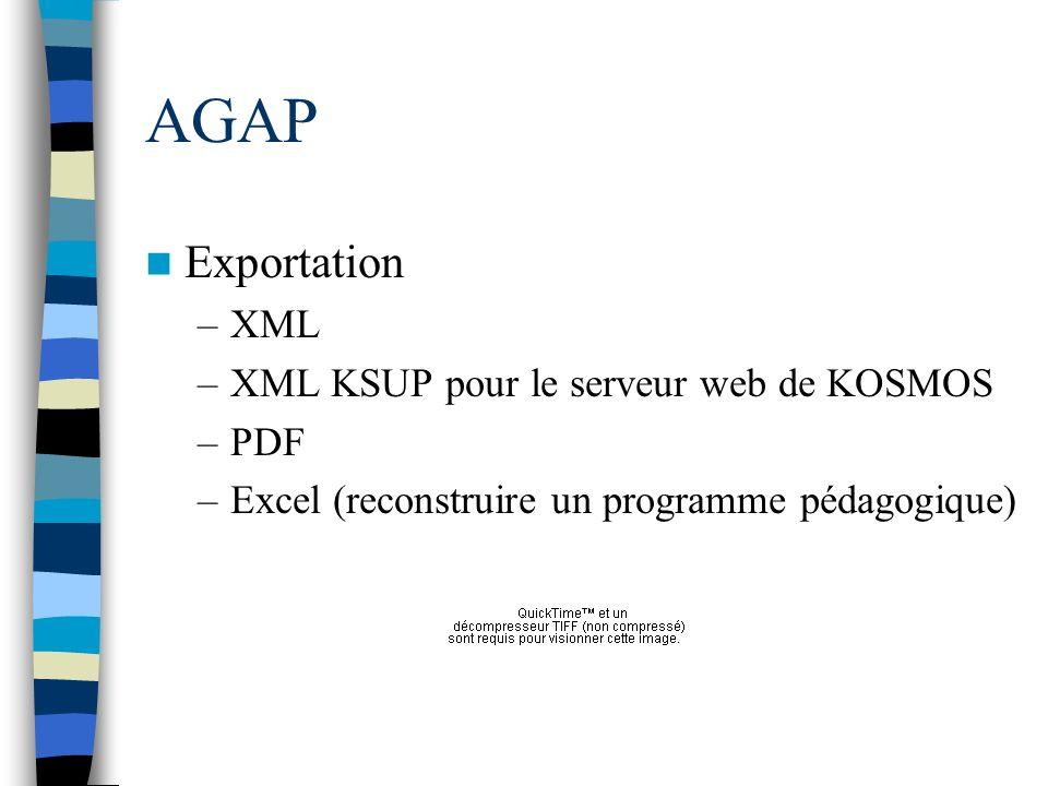AGAP Exportation XML XML KSUP pour le serveur web de KOSMOS PDF