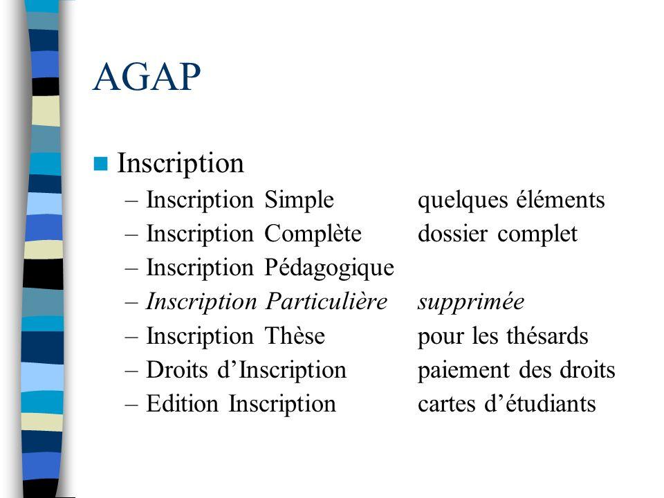 AGAP Inscription Inscription Simple quelques éléments