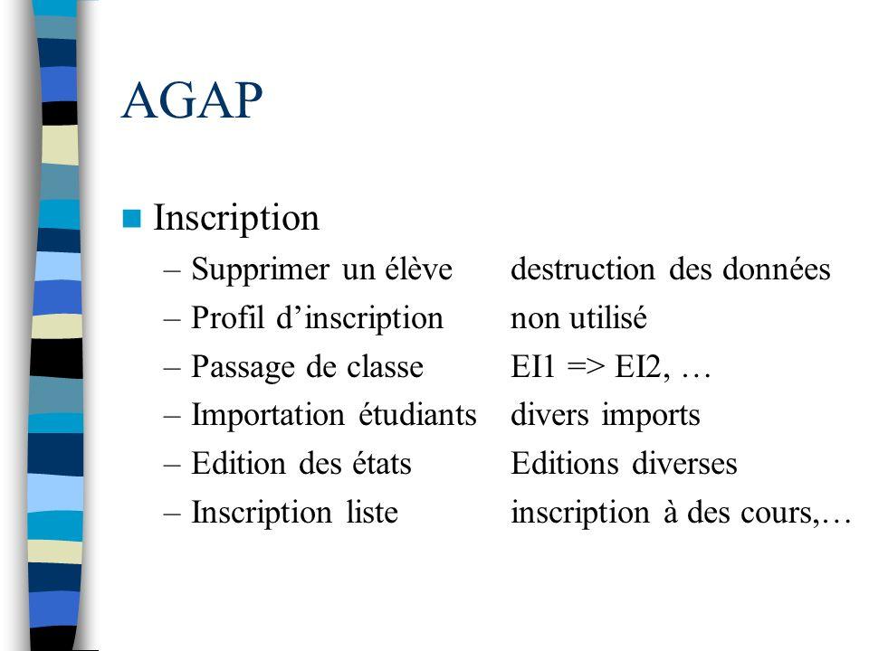 AGAP Inscription Supprimer un élève destruction des données