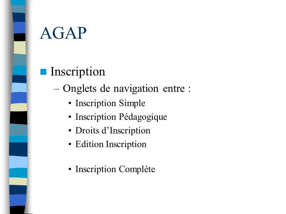 AGAP Inscription Onglets de navigation entre : Inscription Simple