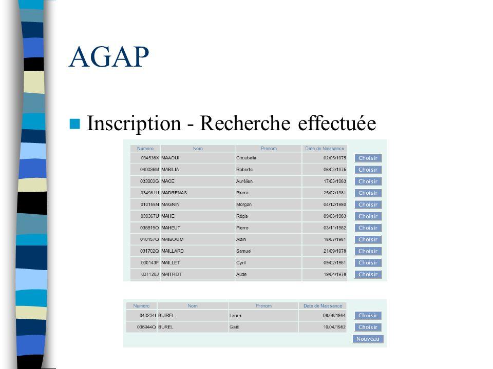 AGAP Inscription - Recherche effectuée
