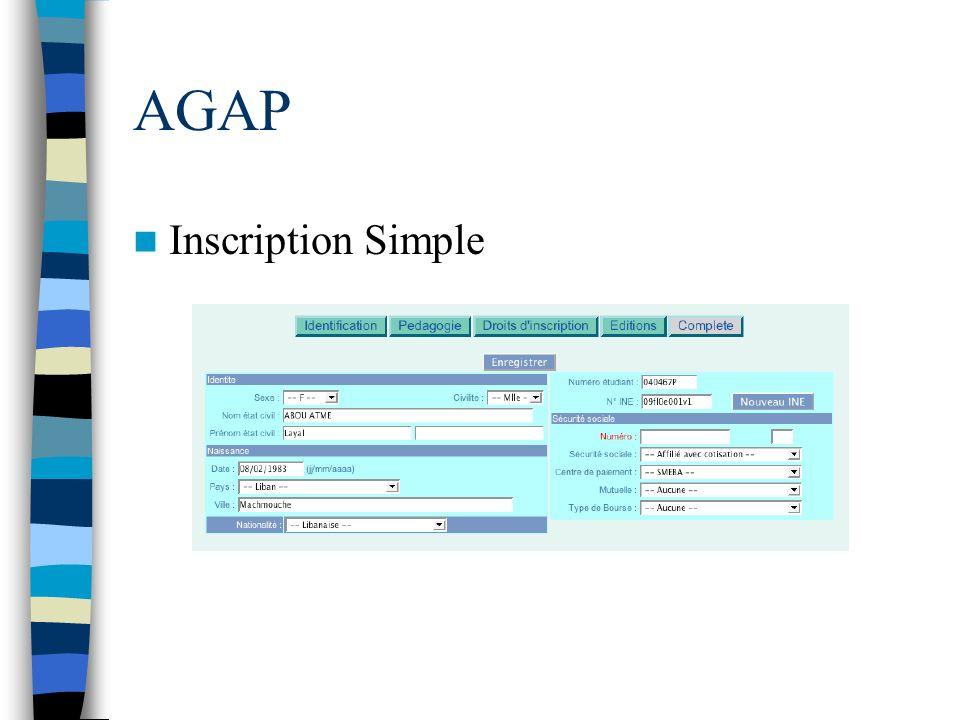 AGAP Inscription Simple