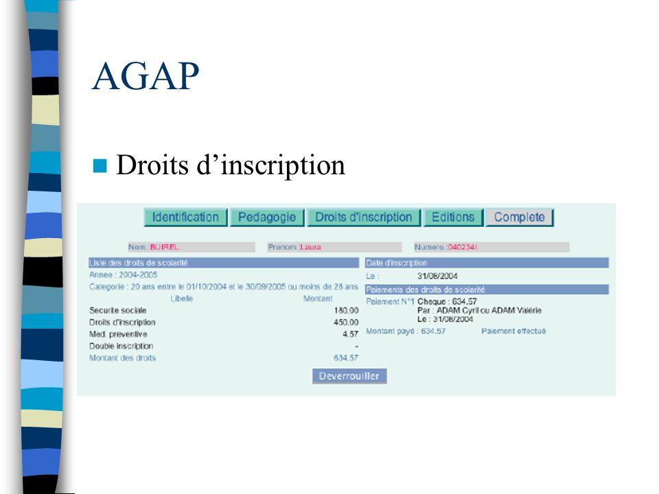 AGAP Droits d'inscription