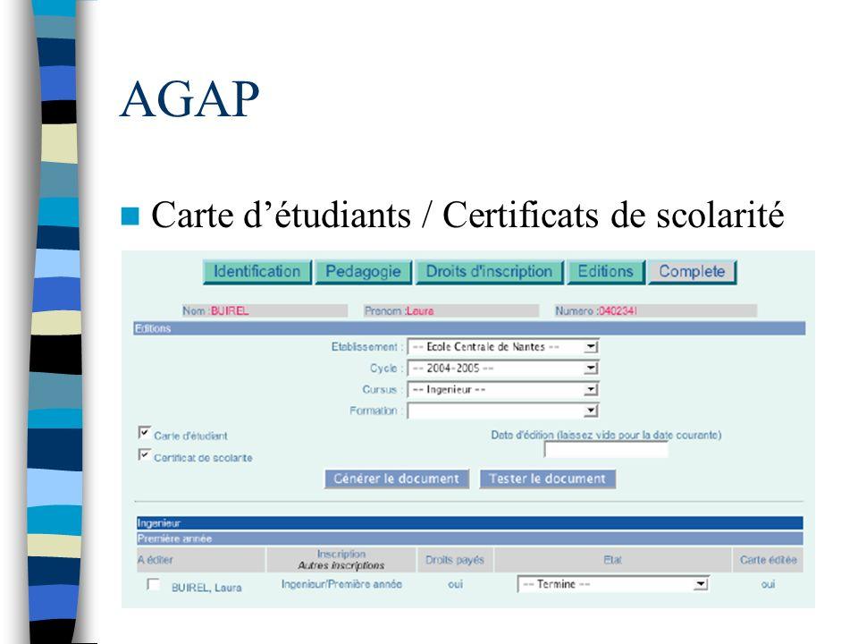 AGAP Carte d'étudiants / Certificats de scolarité
