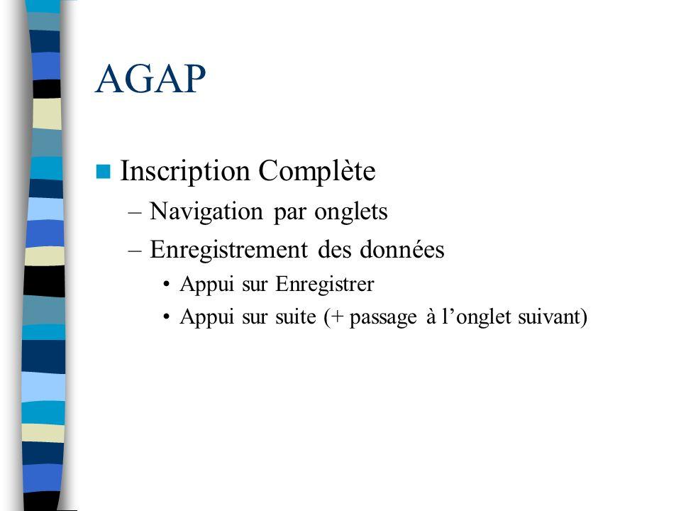 AGAP Inscription Complète Navigation par onglets