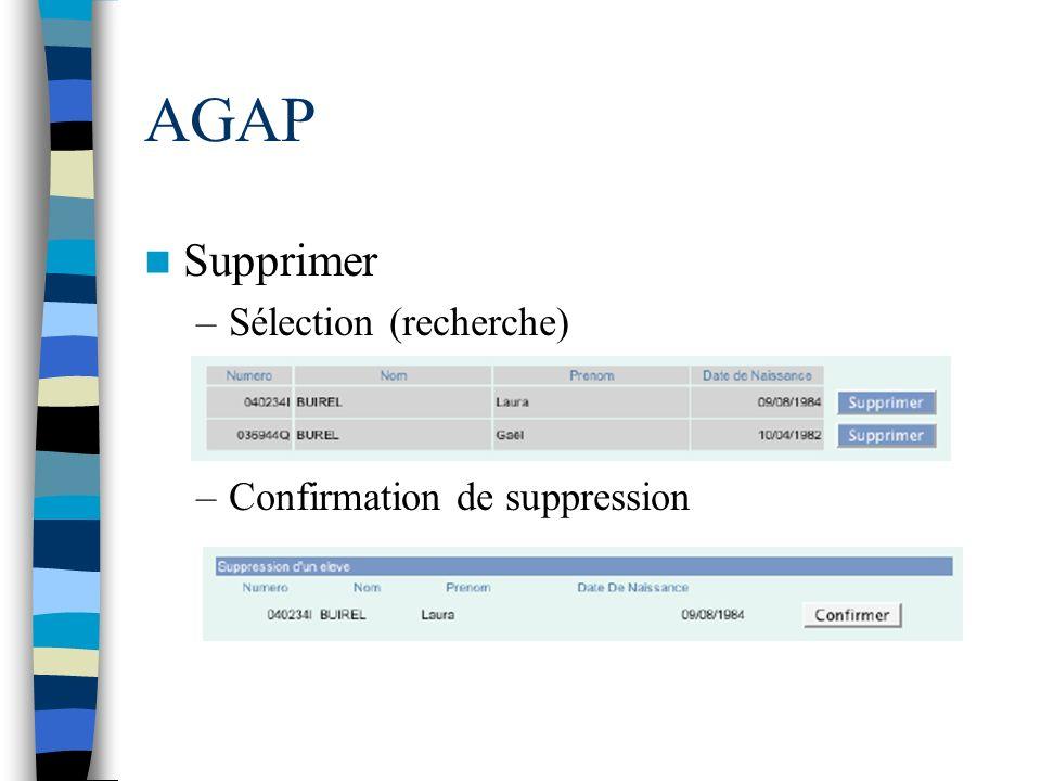 AGAP Supprimer Sélection (recherche) Confirmation de suppression