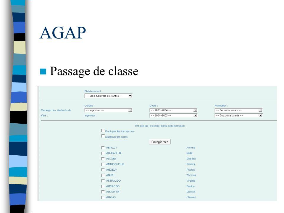AGAP Passage de classe