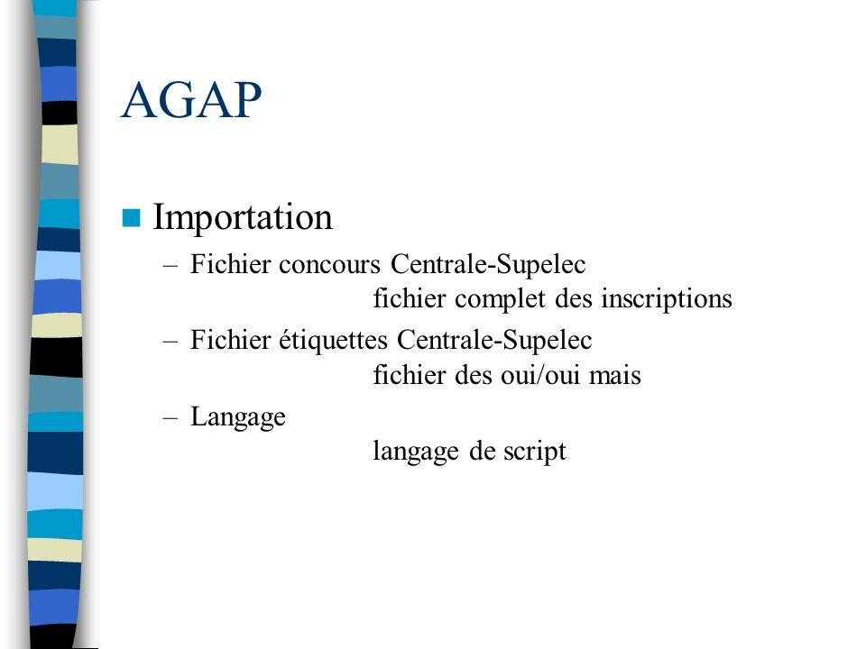 AGAP Importation. Fichier concours Centrale-Supelec fichier complet des inscriptions.