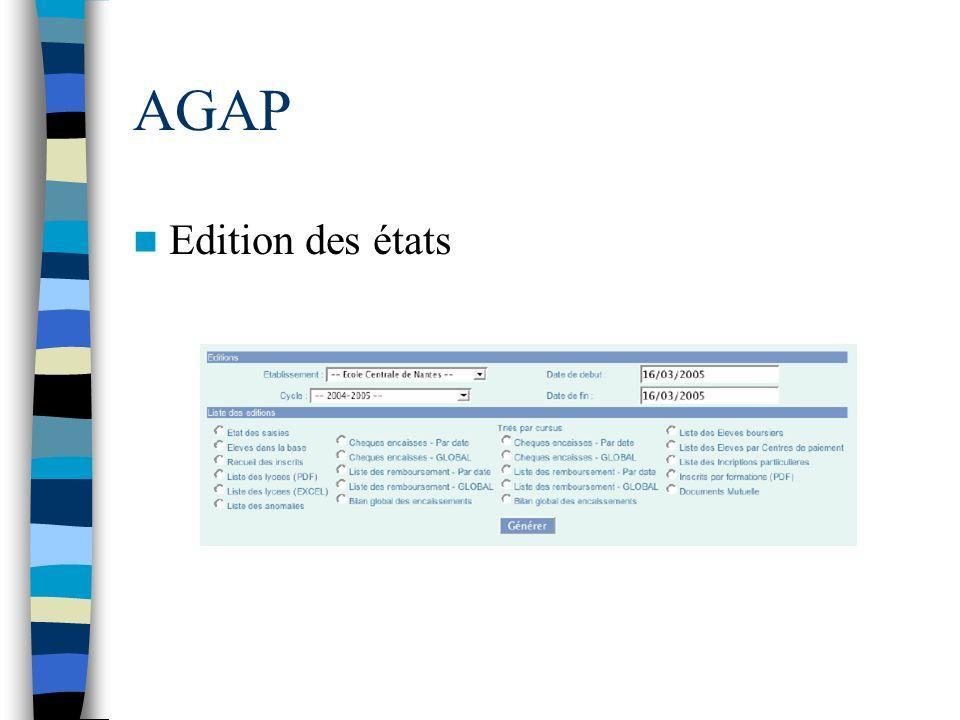 AGAP Edition des états