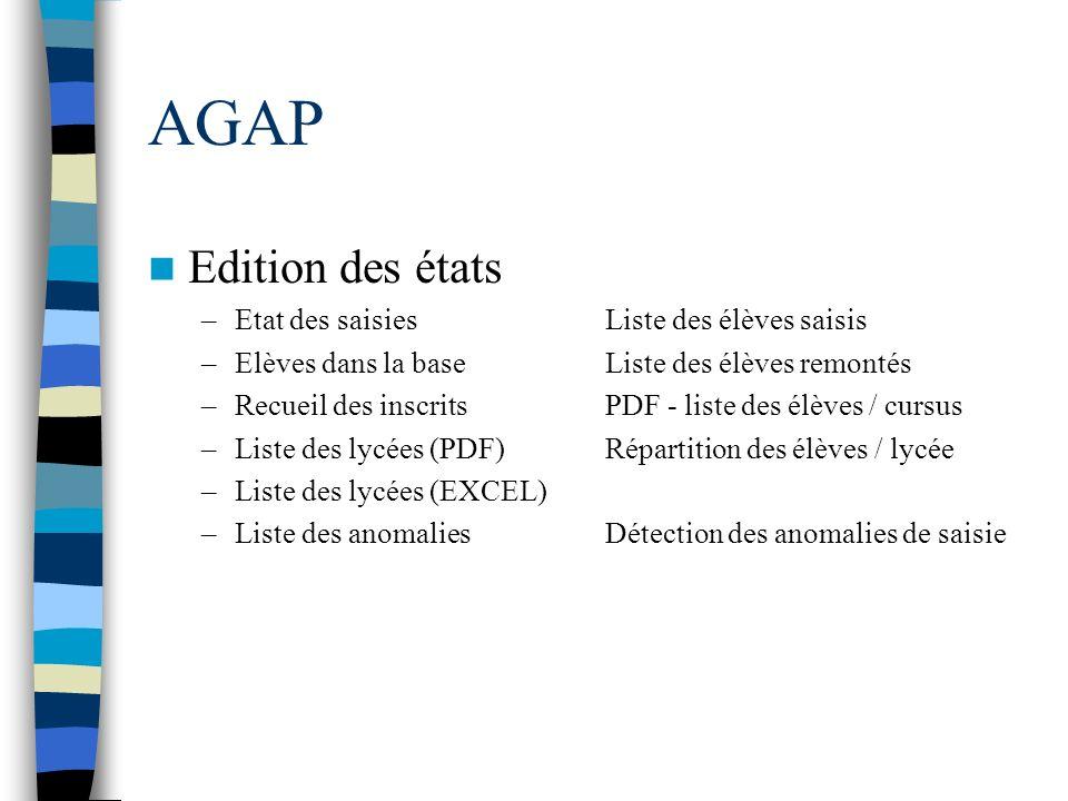 AGAP Edition des états Etat des saisies Liste des élèves saisis