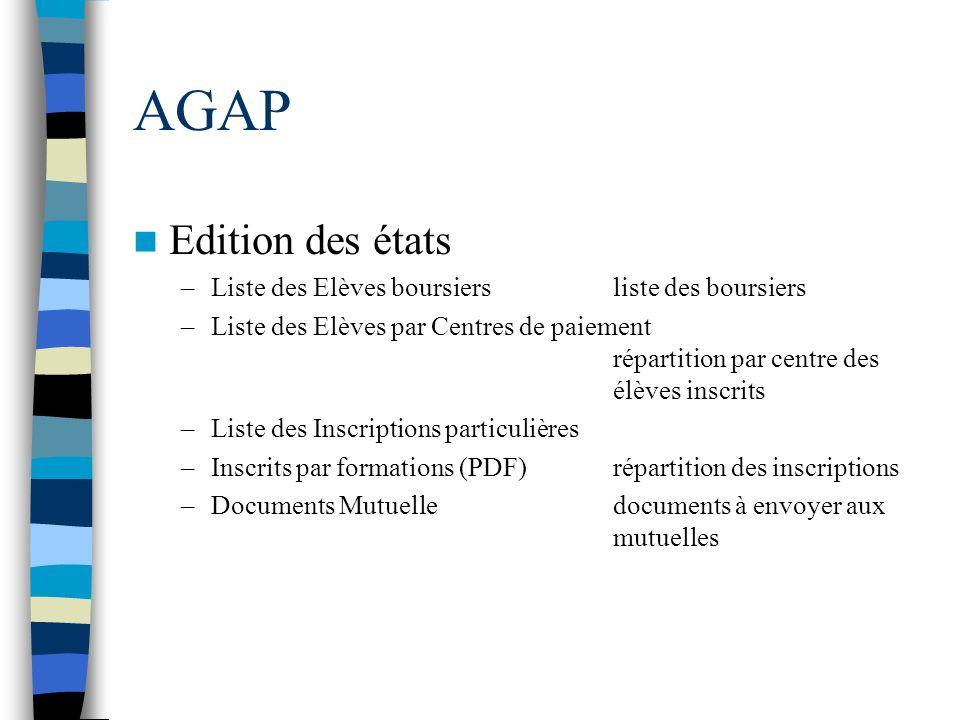 AGAP Edition des états Liste des Elèves boursiers liste des boursiers