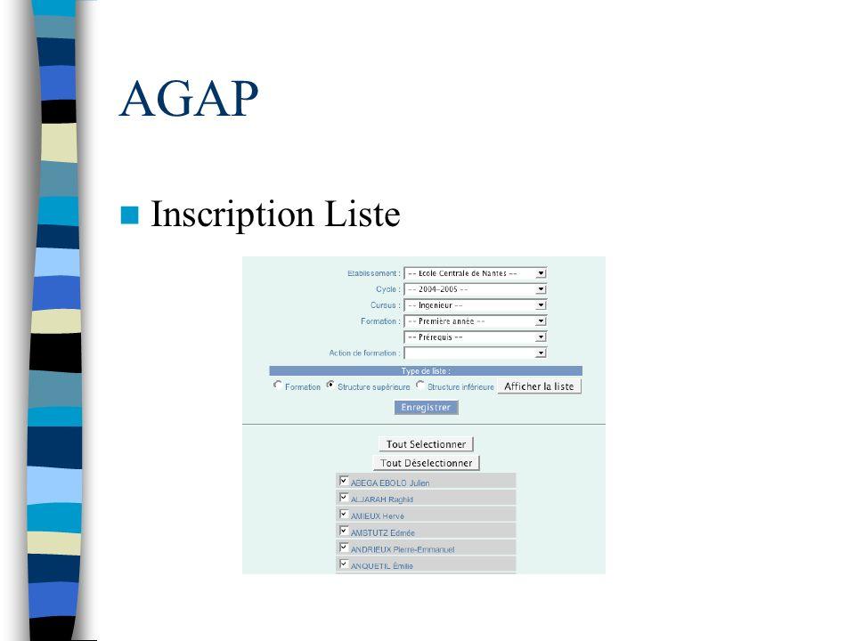 AGAP Inscription Liste