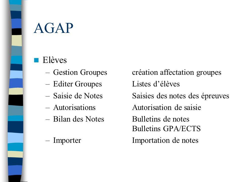 AGAP Elèves Gestion Groupes création affectation groupes