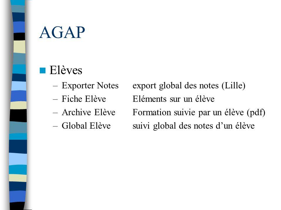 AGAP Elèves Exporter Notes export global des notes (Lille)