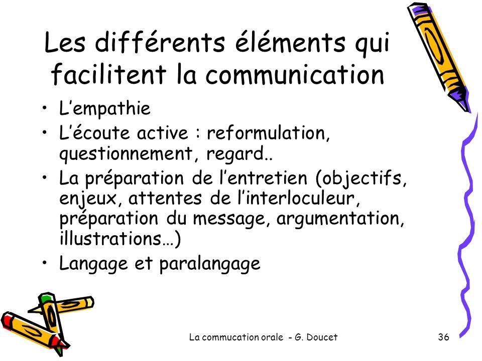 Les différents éléments qui facilitent la communication