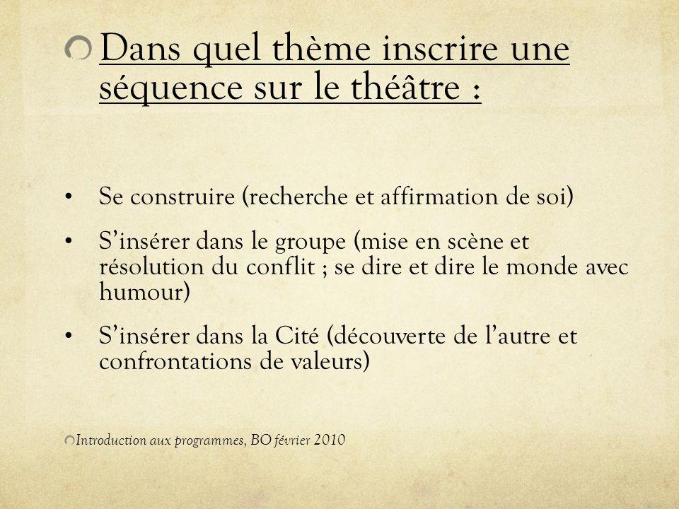 Dans quel thème inscrire une séquence sur le théâtre :