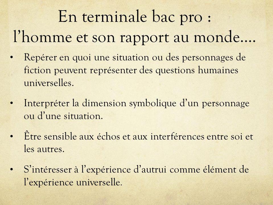 En terminale bac pro : l'homme et son rapport au monde….