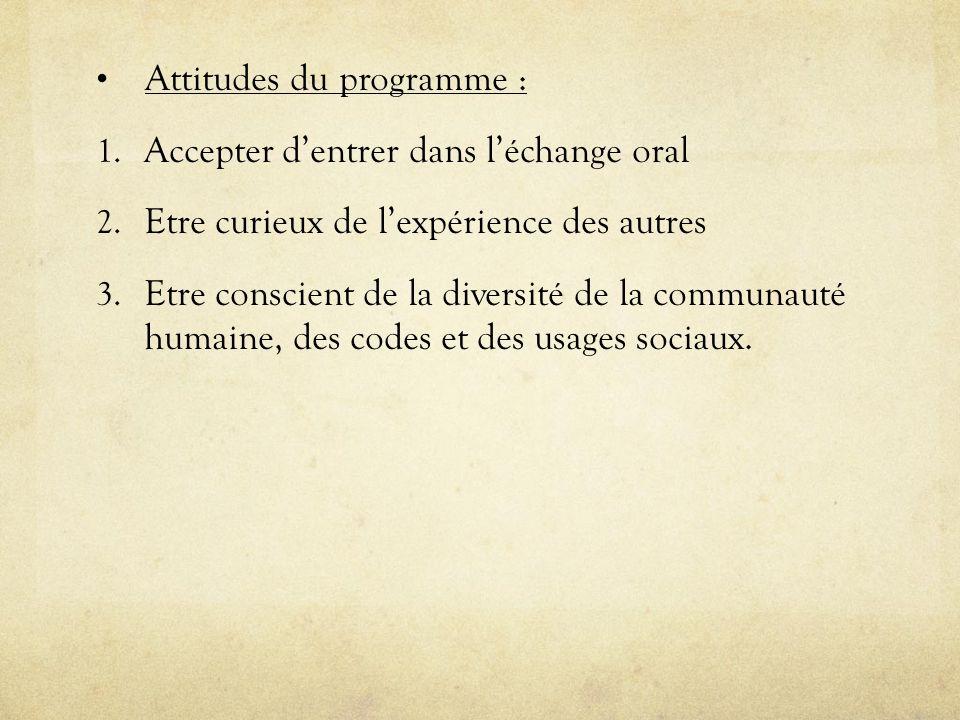 Attitudes du programme :