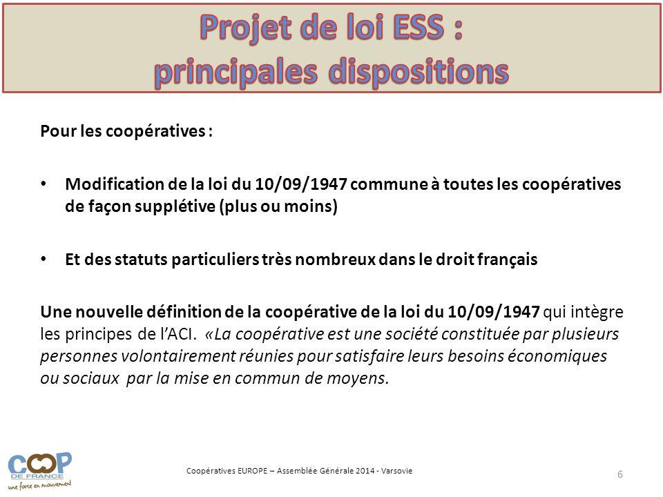 Projet de loi ESS : principales dispositions