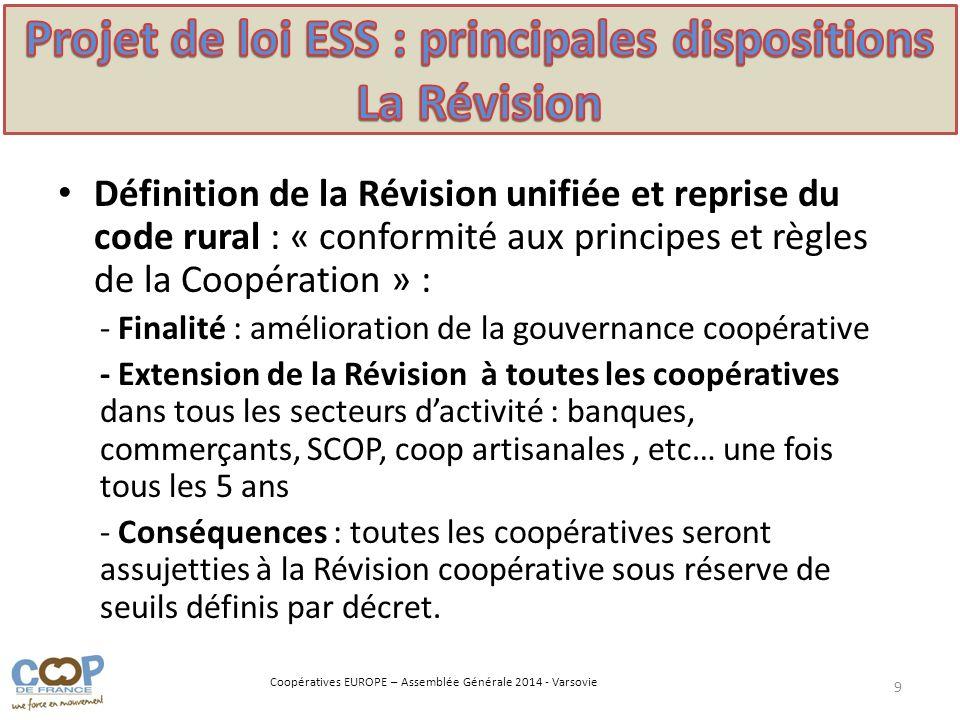 Projet de loi ESS : principales dispositions La Révision