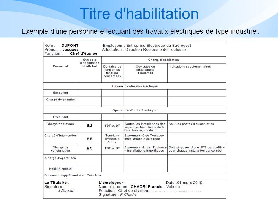Titre d habilitation Exemple d'une personne effectuant des travaux électriques de type industriel.