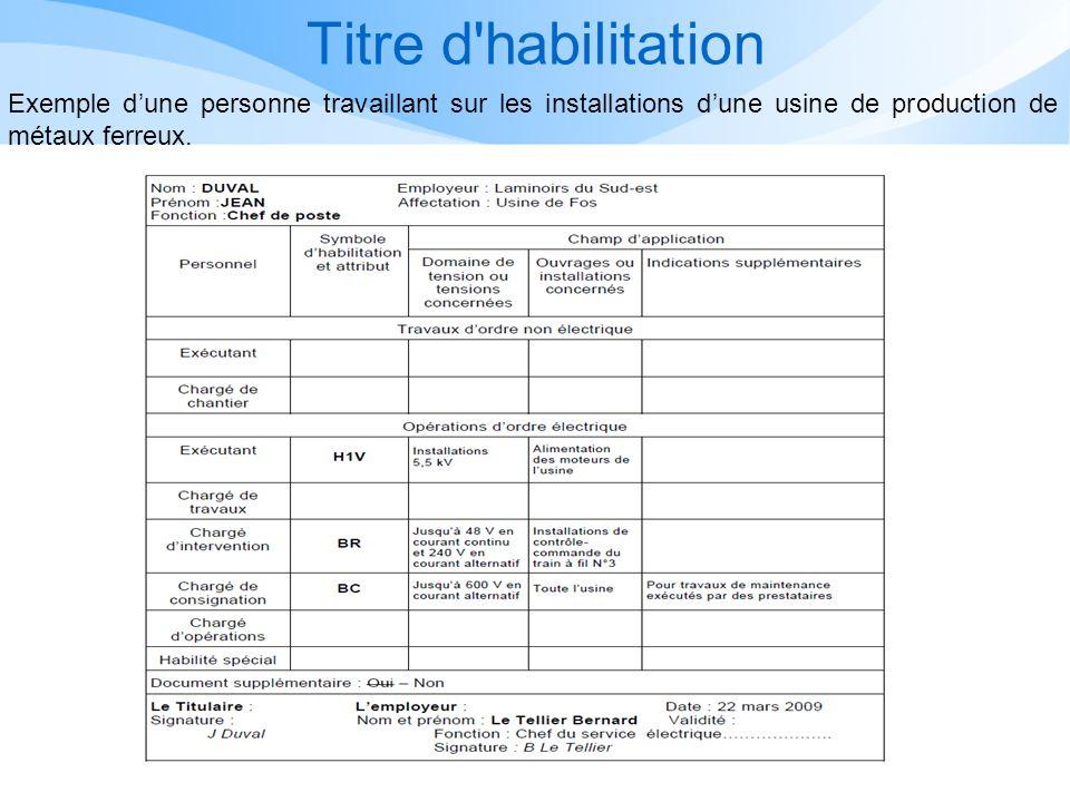 Titre d habilitation Exemple d'une personne travaillant sur les installations d'une usine de production de métaux ferreux.
