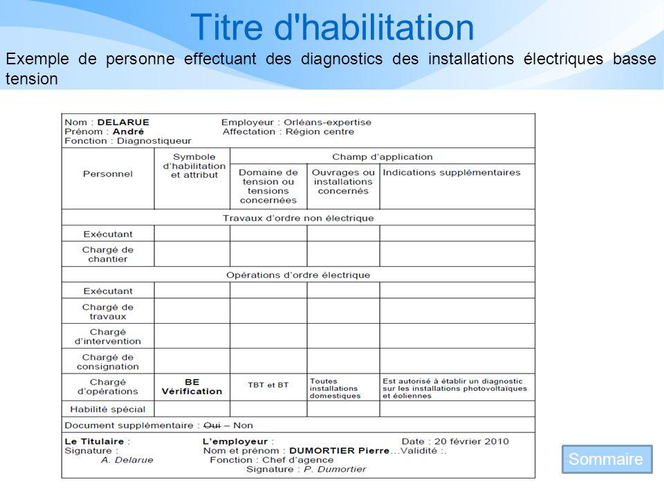 Titre d habilitation Exemple de personne effectuant des diagnostics des installations électriques basse tension.