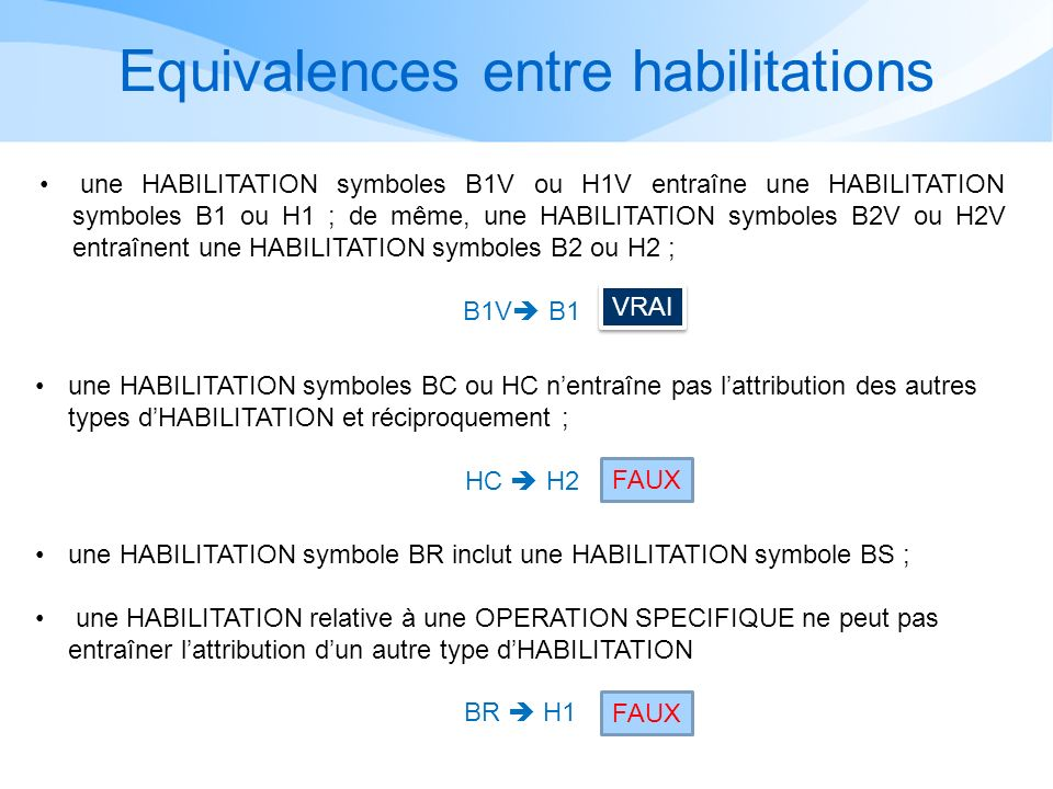 Equivalences entre habilitations