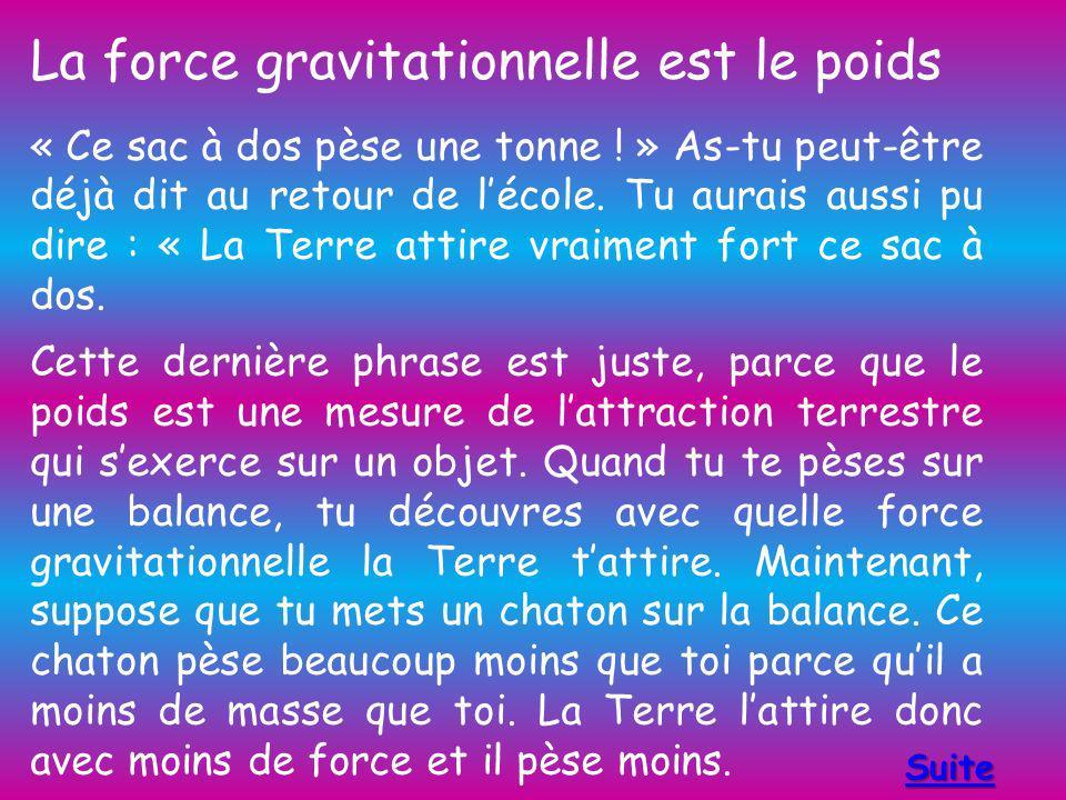 La force gravitationnelle est le poids