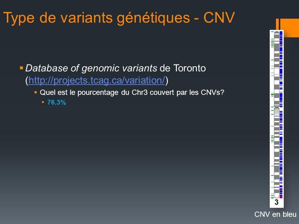 Type de variants génétiques - CNV