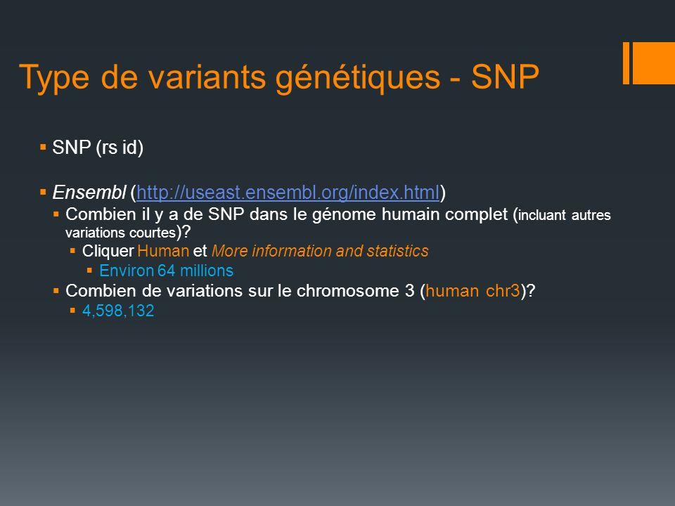 Type de variants génétiques - SNP