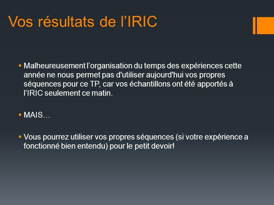 Vos résultats de l'IRIC