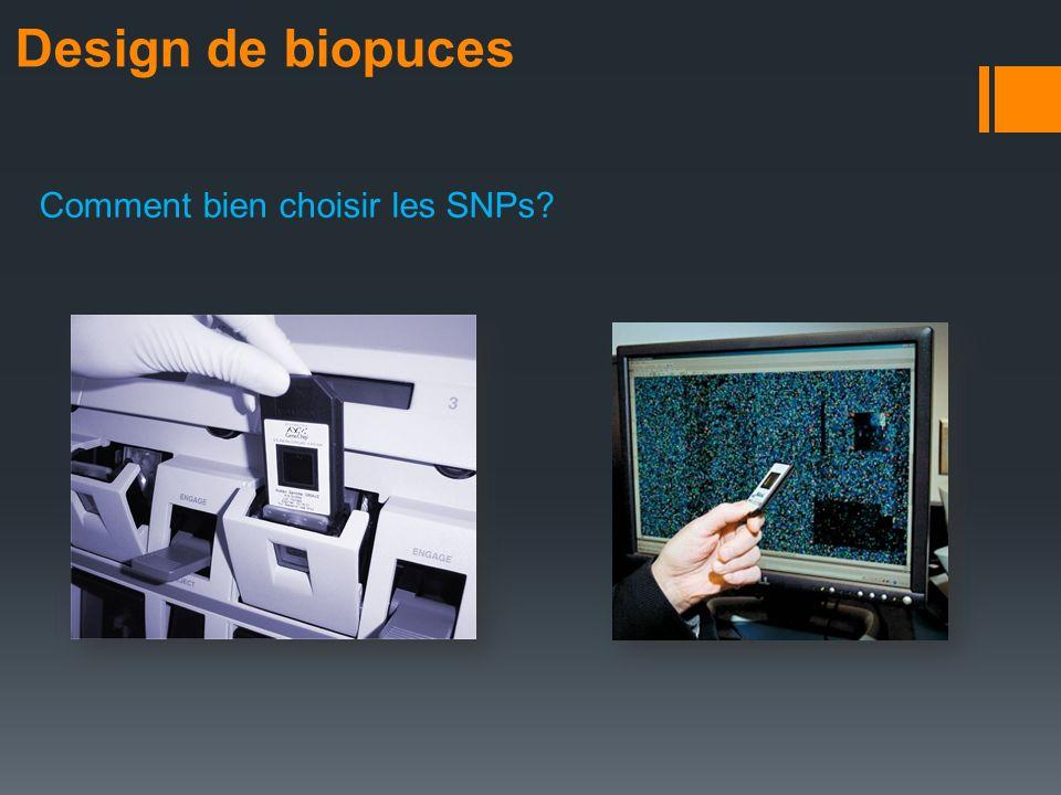 Design de biopuces Comment bien choisir les SNPs