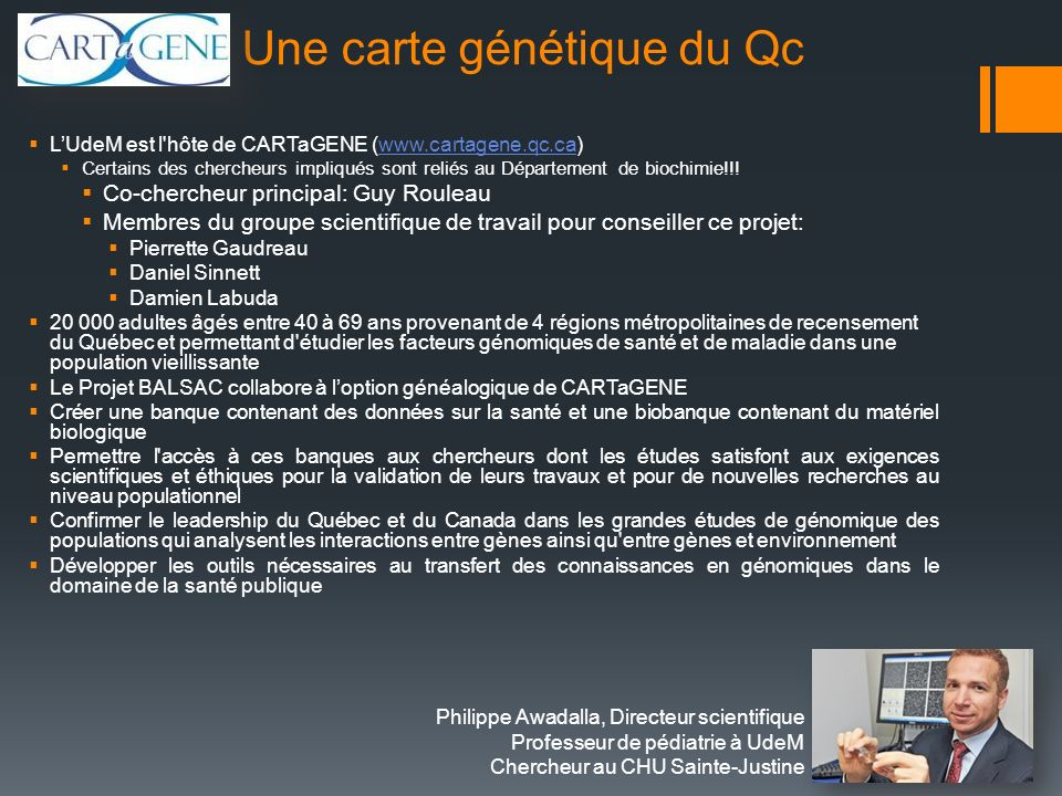 Une carte génétique du Qc